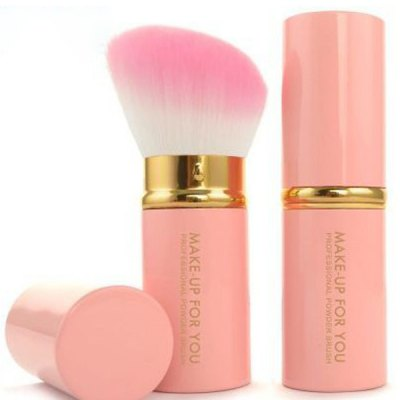 Stylish Multifunction Telescopic Design Lid Angled Fiber Blush Brush