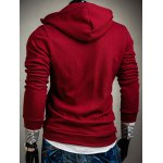 cheap Hooded Solid Color Inclined Button Design Long Sleeve Men's Hoodie