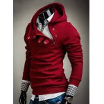 Hooded Solid Color Inclined Button Design Long Sleeve Men's Hoodie