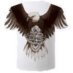 cheap Fashion Round Neck 3D Eagle Print Slimming Short Sleeves T-Shirt For Men