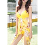 cheap Trendy Halter Floral Print Three-Piece Women's Swimsuit