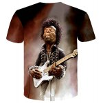 cheap Personality Singer Print Slim Fit Round Neck Short Sleeves 3D T-Shirt For Men