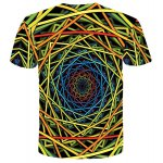 cheap Vogue Trippy Pattern Slimming Round Neck Short Sleeves 3D Printed T-Shirt For Men