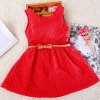Buy Sweet Solid Color Sleeveless Round Neck Girl's Lace Dress 110 RED