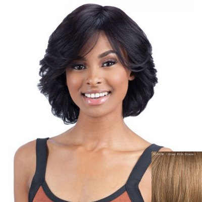 Elegant Short Side Bang Fluffy Wavy Capless Real Natural Hair Wig For WomenHuman Hair Wigs<br>Elegant Short Side Bang Fluffy Wavy Capless Real Natural Hair Wig For Women<br><br>Type: Full Wigs<br>Cap Construction: Capless<br>Style: Wavy<br>Cap Size: Average<br>Material: Human Hair<br>Bang Type: Side<br>Length: Short<br>Occasion: Daily<br>Density: 130%<br>Length Size(CM): 30<br>Weight: 0.180KG<br>Package Contents: 1 x Wig