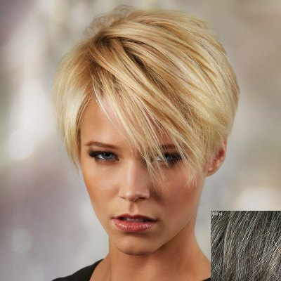 Fluffy Side Bang Ultrashort Human Hair Wig For Women