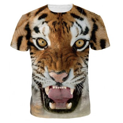 Cool 3D Tiger Print Round Neck Short Sleeves T-Shirt For Men