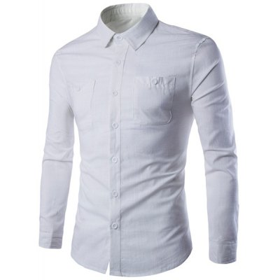 Patch Pockets Long Sleeve White Shirt For Men