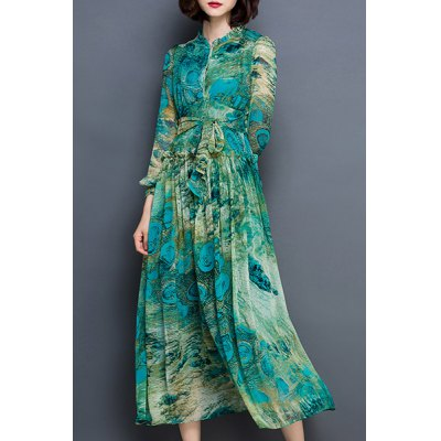Chic Long Sleeve Peacock Feather Printed Waist Tied Chiffon Dress For Women