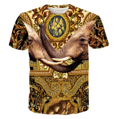 Round Neck 3D Elephants Printed Short Sleeve T-Shirt For Men