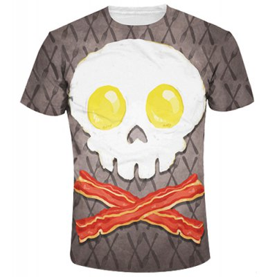 Round Collar Cute Skull Printing T-Shirt For Men