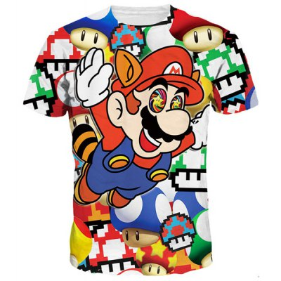 Funny 3D Cartoon Mario Print Round Neck Short Sleeves T-Shirt For Men