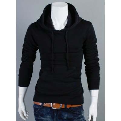 Hooded Solid Color Front Pocket Long Sleeve Men's Hoodie