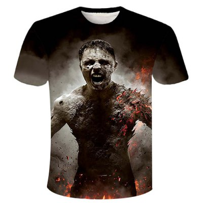 Round Neck 3D Zombie Printed Short Sleeve T-Shirt For Men