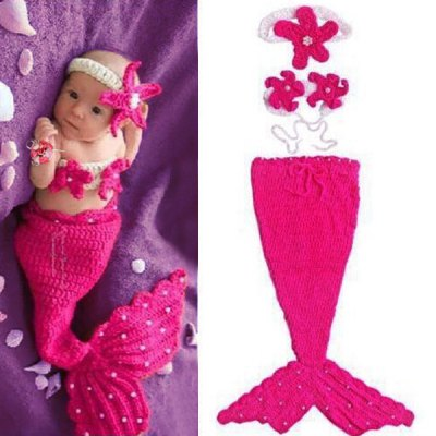 Chic Quality Hand Knitting Mermaid Design Three-Piece Suit Baby Sleeping Bag Blanket