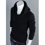cheap Hooded Solid Color Front Pocket Long Sleeve Men's Hoodie