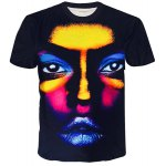 Round Neck 3D Colorful Figure Face Printed Short Sleeve T-Shirt For Men