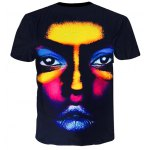 cheap Round Neck 3D Colorful Figure Face Printed Short Sleeve T-Shirt For Men