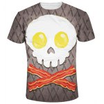 Slimming Round Collar Cute Skull Printing T-Shirt For Men