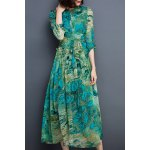 cheap Chic Long Sleeve Peacock Feather Printed Waist Tied Chiffon Dress For Women