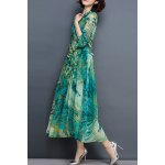 Chic Long Sleeve Peacock Feather Printed Waist Tied Chiffon Dress For Women deal