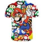 Funny 3D Cartoon Mario Print Round Neck Short Sleeves T-Shirt For Men deal