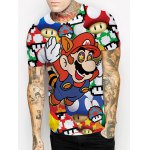 cheap Funny 3D Cartoon Mario Print Round Neck Short Sleeves T-Shirt For Men