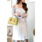 Sweet Spaghetti Strap Spliced Knee-Length Women's Dress