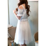 Sweet Spaghetti Strap Spliced Knee-Length Women's Dress deal
