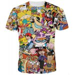Casual 3D Cartoon Print Round Neck Short Sleeves Funny T-Shirt For Men