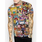 cheap Casual 3D Cartoon Print Round Neck Short Sleeves Funny T-Shirt For Men