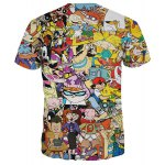 Casual 3D Cartoon Print Round Neck Short Sleeves Funny T-Shirt For Men deal