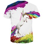 Splash-Ink Rainbow and Horse Print Round Neck Short Sleeves 3D T-Shirt For Men deal