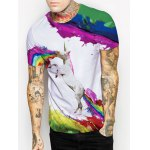 cheap Splash-Ink Rainbow and Horse Print Round Neck Short Sleeves 3D T-Shirt For Men