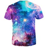 cheap 3D Colorful Starry Sky Print Round Neck Short Sleeves T-Shirt For Men