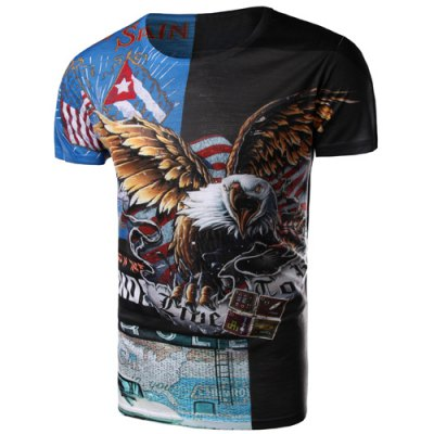 3D Eagle Print Round Neck Short Sleeves T-Shirt For Men