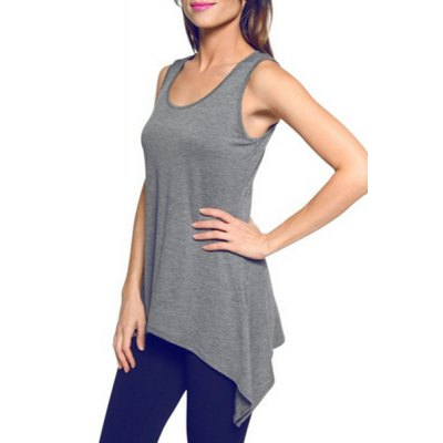 Stylish U Neck Sleeveless Solid Color Asymmetrical Tank Top For Women