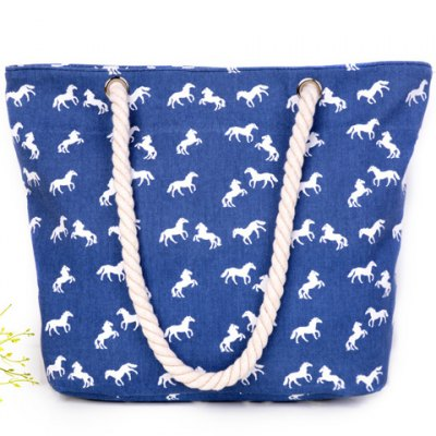 Leisure Horse Print and Canvas Design Shoulder Bag For Women