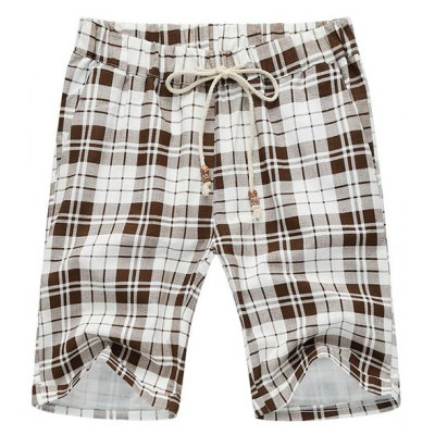 Casual Loose Fit Straight Leg Plaid Print Lace-Up Thin Shorts For Men