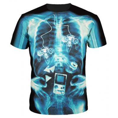 Slimming Round Collar Skeleton Printing T-Shirt For Men