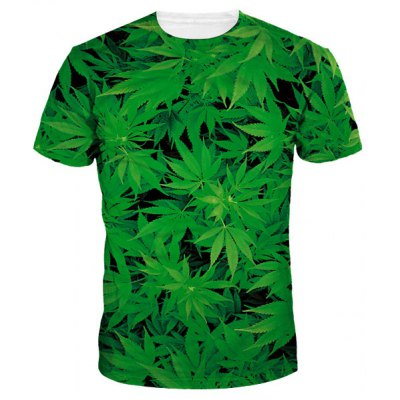 Round Collar Weed T-Shirt For Men