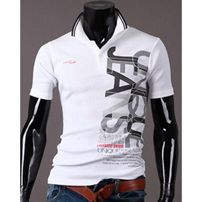 New Style Turn-down Collar Letters Print Short Sleeves Polo T-Shirt For Men