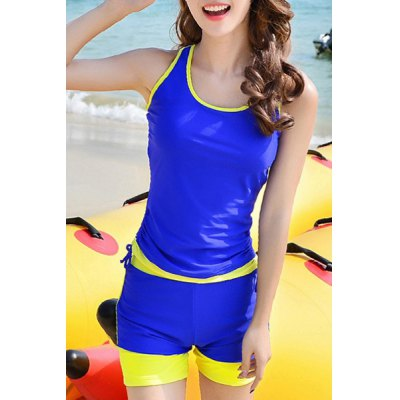 Hit Color Sleeveless Sheath Tank Top and Shorts Twinset Swimwear