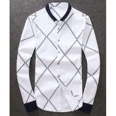 Fashion Single Breasted Turn Down Collar Rhombus Printed Shirt For Men