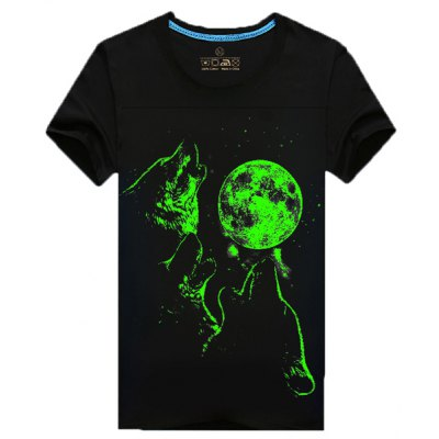 Thin 3D Moon Wolf Printed Round Neck Short Sleeves LuminousT-Shirt For Men