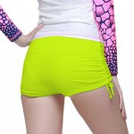 cheap Graceful Mid Waist Solid Color Side Scrunch Swim Boyshorts For Women