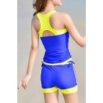 cheap Active Sleeveless Hit Color Sheath Tank Top and Shorts Twinset Swimwear For Women