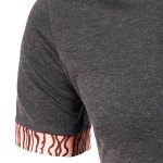 Casual Turn-down Collar Tree Stripes Spliced Short Sleeves T-Shirt For Men deal