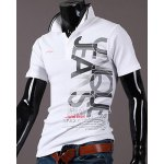cheap New Style Turn-down Collar Letters Print Short Sleeves Polo T-Shirt For Men