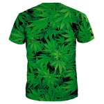 cheap Slim Fit Round Collar Weed T-Shirt For Men